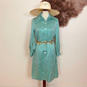 Vtg 70s Sage Green Button Groovy Dress M